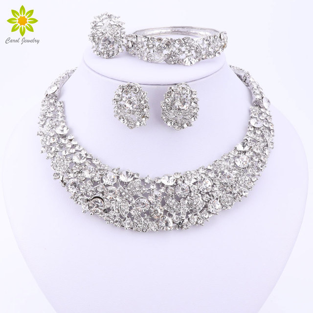 Nigerian Wedding African Beads Jewelry Sets Crystal Necklace Sets Silver/Gold Plated Jewelry Set Wedding Accessories Party
