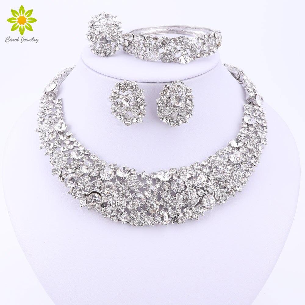 Nigerianischen Hochzeits Afrikanische Perlen Schmuck Sets Kristall Halskette Sets Silber Farbe Schmuck-set Hochzeit Zubehör Partei Hochzeits- & Verlobungs-schmuck