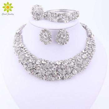 Nigeryjski ślub afrykańskie Koraliki Biżuteria zestawy kryształ naszyjnik zestawy srebrny kolor Biżuteria zestaw ślub akcesoria party tanie i dobre opinie Jewelry Sets Moda Roślin Klasyczny Crystal Bridal Jewelry Sets necklace bracelet earring ring Ślub Stop cynkowy LM-TL403064