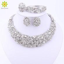 Ślub nigeryjski koraliki afrykańskie zestawy biżuterii kryształowe zestawy naszyjnik srebrny zestaw biżuterii kolor akcesoria ślubne Party