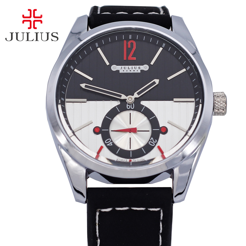 Single Second Dial Julius Men's Watch Assorted Colors Fashion Hours Dress Sport Retro Leather Boy Birthday Christmas Gift Box assorted colors printed celebrity band collar bodycon dress
