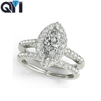 QYI wedding ring 925 sterling silver Ring Sets 1.2 ct Marquise Cut diamond jewerly cubic zirconia for women band ring set