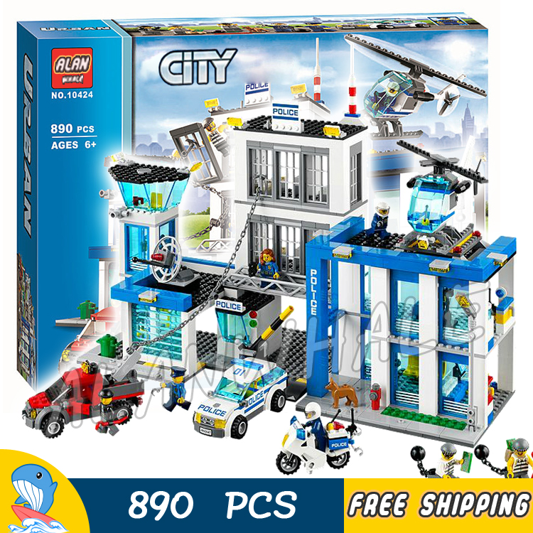 890pcs City Police Station 10424 Building Blocks Action Model Children Toys Kit helicopter jail cell Bricks Compatible With lego lepin 631pcs city police station kazi 6725 building blocks action figure baby toys children building bricks brinquedos kid gift