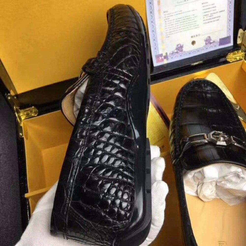2018 Genuine 100% real genuine crocodile belly skin men shoe, luxury top quality crocodile skin men shoe black brown color