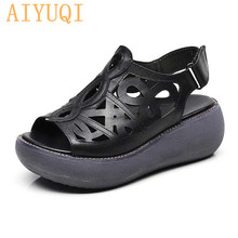 AIYUQI  Women sandals Retro 2019 new genuine leather women summer platform flat shoes natural cowhide sandal