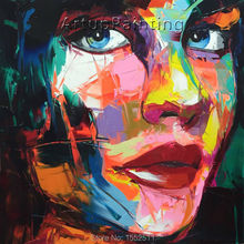 Palette knife painting portrait Face Oil Impasto figure on canvas Hand painted Francoise Nielly 16-42
