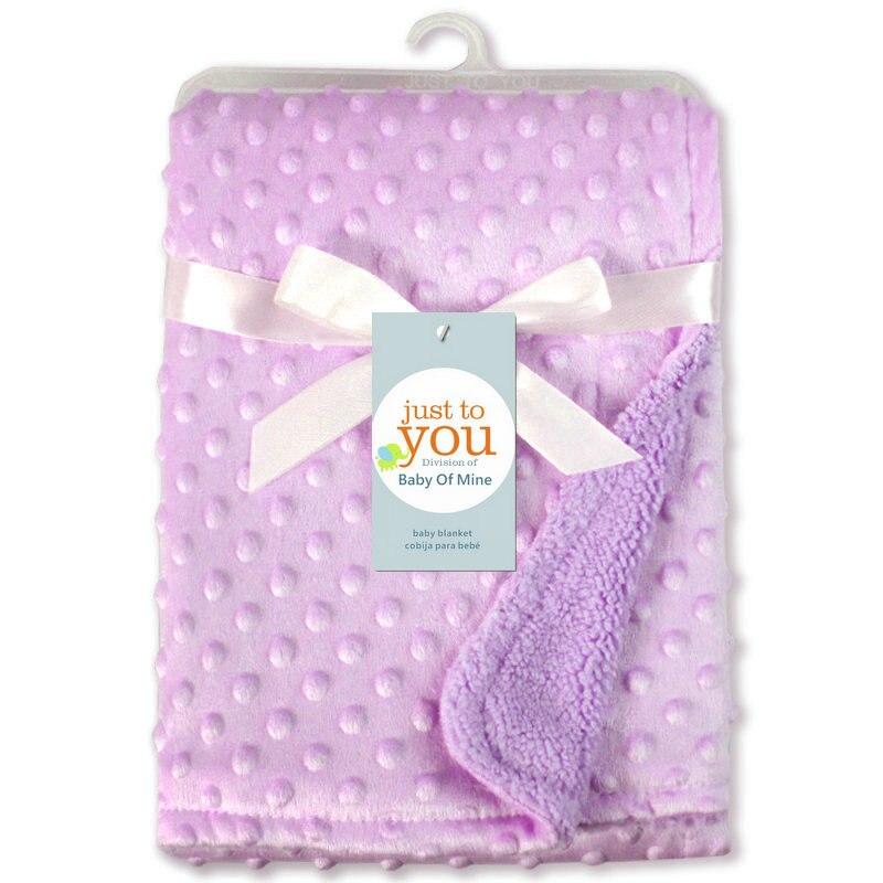 Детское одеяло и пеленание для новорожденных, теплое мягкое Флисовое одеяло, набор однотонных постельных принадлежностей, Хлопковое одеяло - Цвет: Фиолетовый