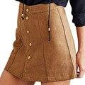 Mujeres Sexy Falda de Cintura Alta Una Línea de Falda de Pana Retro Botón Delgado Faldas Elegante de Un Solo Pecho Falda Femenina Otoño