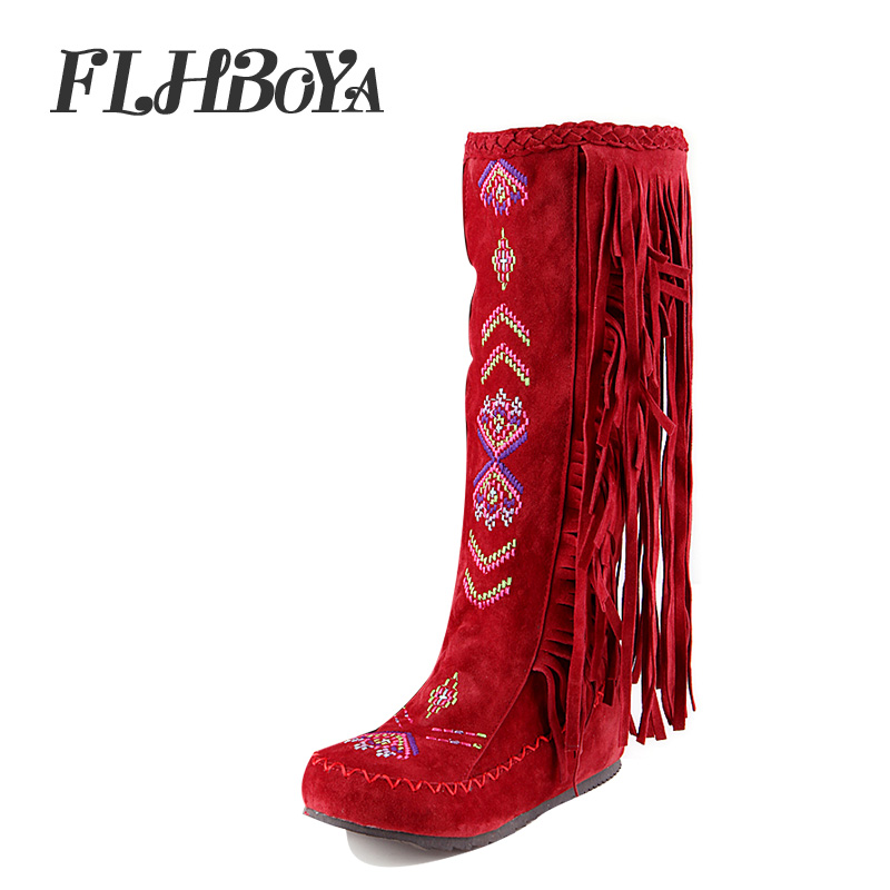 FLHBOYA Fashion Nation Style Embroidery Leather Women Fringe Flat Heels Long Boot Woman Tassel Knee High Snow Boots Size 34-48 tassel tie embroidery high low blouse