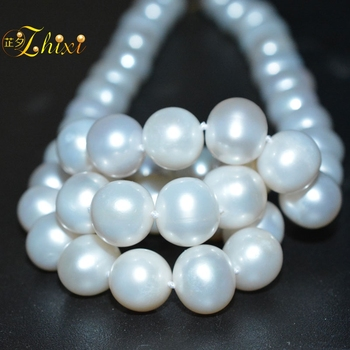 18k Gold Rope Chain   ZHIXI Natural Pearl Jewelry Pearl Necklace 18K Gold Natural Freshwater White Near Round 10-11mm Fine Gift For Women  X258-18K
