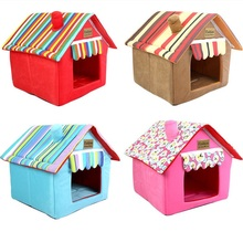 New Folding Removable Cover Mat Dog House Cat Beds Striped For Small Medium Dogs Pet Products for