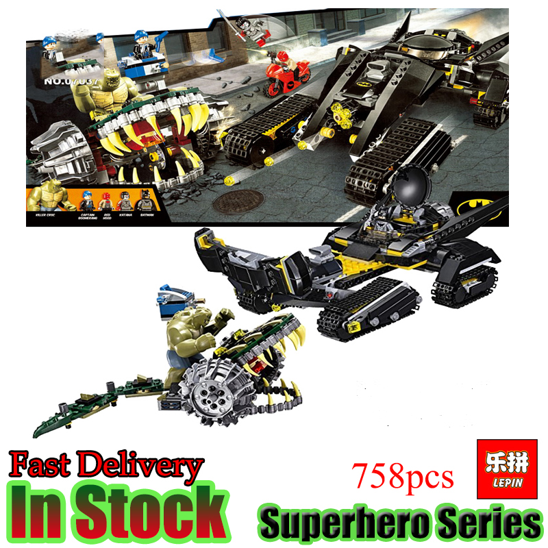 LEPIN 768PCS Super Heroes DC Batman Tumbler Killer Croc Sewer Smash  Compatible 76055 Building Blocks Avengers Superheros Toys
