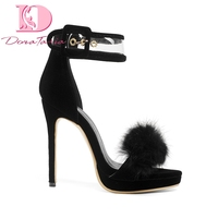 Doratasia 2019 Ins hot fashion fur plus size 32 54 high heels women Shoes thin heeled party ankle strap sandals summer stiletto