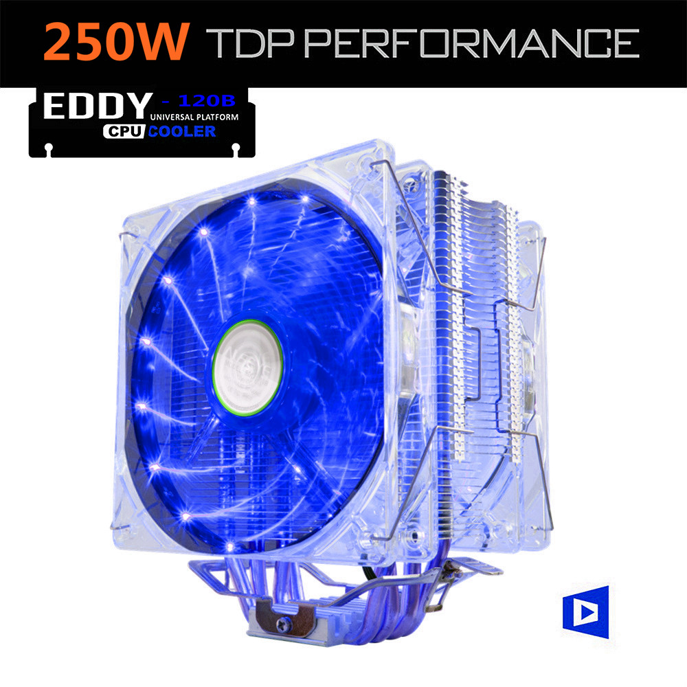 ALSEYE EDDY-120BL CPU Cooler TDP 250W Dual 4pin LED 120mm Fan Radiator for LGA 775/1150/1151/1155/1366/AM2/AM3/AM4 2200rpm cpu quiet fan cooler cooling heatsink for intel lga775 1155 amd am2 3 l059 new hot