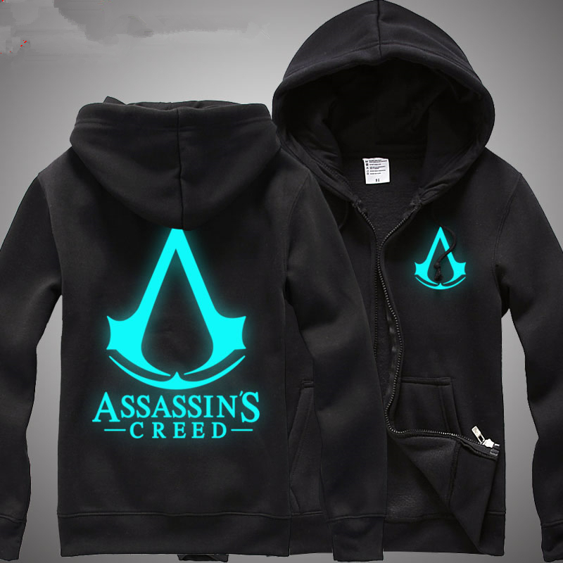 Glow At Night Mens Assassins Creed Hoodie High Quality Male Cotton Assassins Creed Costume Black Hooded