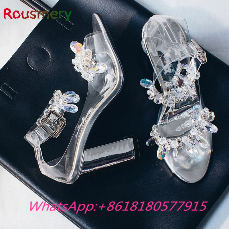 Fashion Bling Crystal Decoration Chunky High Heels Woman Sandals Summer Party Gladiator Zapatos Mujer Tacon Attractive Shoes