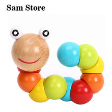Фотография Baby wood toys Candy Color Flexible Twisting Caterpillar Wooden Toy for Baby kids gifts wooden blocks educational toys gifts
