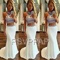 Sexy de Dos Piezas de Vestidos de Baile 2017 Fuera del Hombro Cristales de Colores Tramo Satinado Niña Sirena Blanco Vestido Largo Elegante Prom