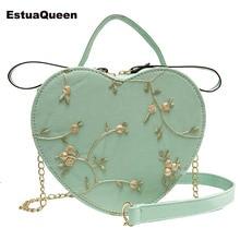 цены на Ins Hot sale Floral Embroidery Handbag Purse Shoulder Bag Heart Shaped Leather Chain Messenger Bags Crossbody Clutch Small Bag  в интернет-магазинах