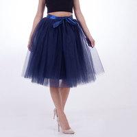 Elegant 7 Layers 65CM Midi Tulle Skirts Womens American Apparel Summer Tutu Skirt Women Wedding Underskirt