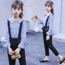 New Arrival Teenage Girls Clothing Set Spring Fall 2 Pcs Striped Blouse and Black Overalls Pant 2019 Kids 6 8 12 14Y