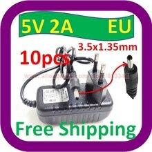 10 шт. 5 в DC 2000mA(2A) ЕС вилка Регулируемый источник питания 3,5 мм 1,35 мм наконечник дополнительный адаптер зарядное устройство