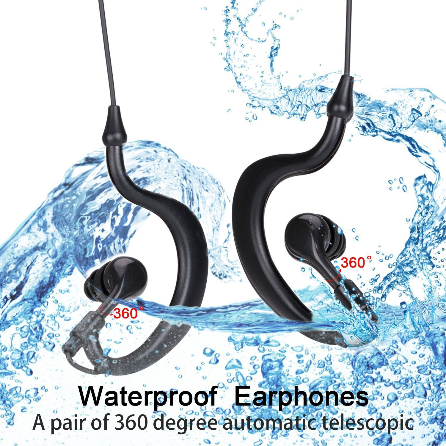 swimming headset Waterproof headphone cable, swimming and diving, running into the ear