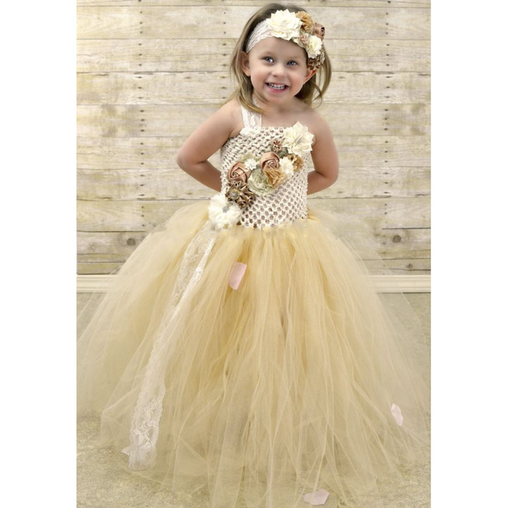 Flower Girl Lace Tulle Tutu Dress Couture for Kids Satin Shabby Flower One Shoulder Dress with Lace Headband Girls Pearl Clothes (2)