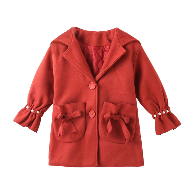 Winter Girl Beaded Overcoat Warm Bowknot Girl Coat Kids Winter Clothes For Childern CoatWinter Girl Beaded Overcoat Warm Bowknot Girl Coat Kids Winter Clothes For Childern Coat