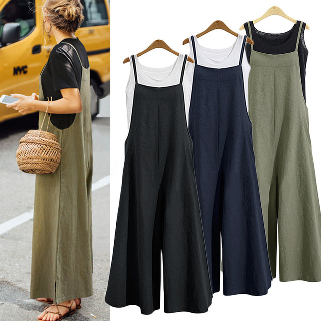 2018 New Summer Women Casual Solid Strap Wide Leg Pants Pockets Romper Dungaree Bib Overalls Loose Cotton Linen Jumpsuits Casual