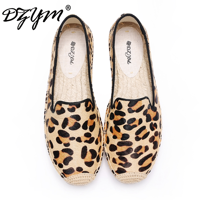 DZYM 2018 Summer High Quality Horsehair Flats Women Fishermen Shoes Polka Dot Loafers Leopard Canvas Espadrilles Zapatos Mujer