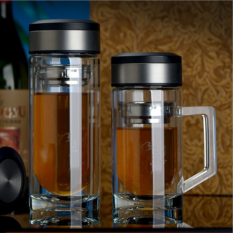 New Double Wall Glass Cups Layer Portable Business Tumbler Filter Office Cup Bottles Glass Tea Water