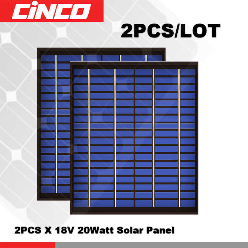 2PCS/LOT 20Watts 20 W Solar Panel 18 V 20W 1.1A polycrystalline Volt 18V Cell charge 12V battery Charger WATT 40 50 30