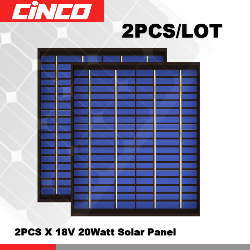 2PCS/LOT 20Watts 20 W Solar Panel 18 V 20W 1.1A polycrystalline <font><b>Volt</b></font> 18V Cell charge 12V <font><b>battery</b></font> Charger WATT 40 <font><b>50</b></font> 30 image