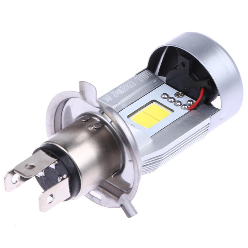 High Quality H4 Motorcycle Headlight 20W COB LED / Low Beam Front Light Super Bright 6500K White Lamp Bulb 2000LM