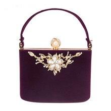 2019 Gold Crystal Flowers Velvet Clutch Bag Party Shoulder Handbag Women Evening Bag Flower Wedding Party Bride Clutch Bag недорого