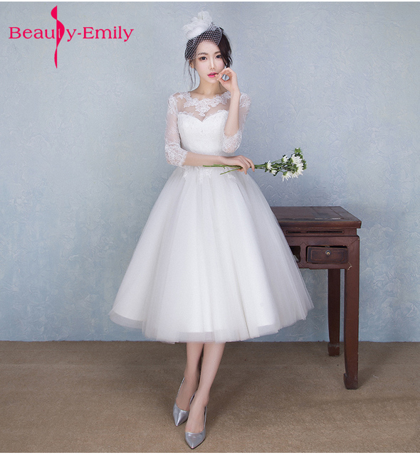 Beauty Emily Vestido De Festa Short White Lace Wedding Dress ball ...