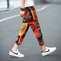 2017 linen summer ankle length trousers male trend national flower strap harem pants ultra-thin breathable trousers