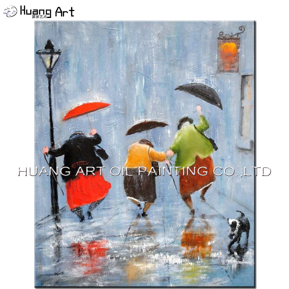 Handmade Modern Figure Oil Painting On Canvas for Home Decor Happy Fat Women Jump at Street under Rain Day Landscape Painting
