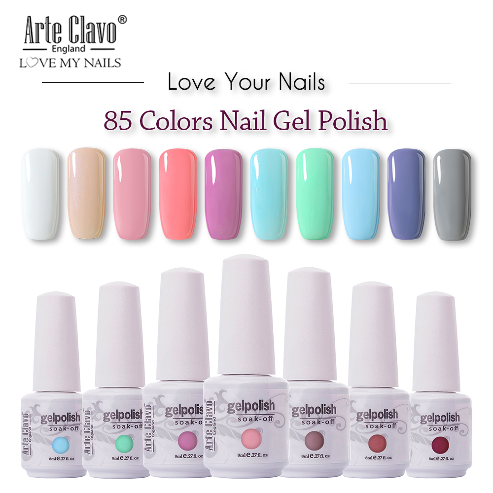 US $1.63 40% OFF|Arte Clavo 85 Colors Gel Nail Polish LED UV Gel For Nail  Soak Off Nails Gel Lacquer Glitter 8ML Nude Red Hybrid Nail Polish-in Nail  ...