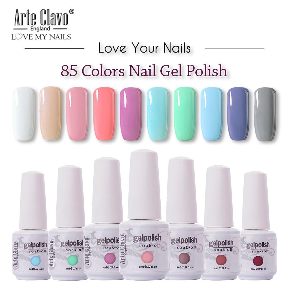 Arte Clavo 85 Colors Gel Nail Polish LED UV Gel For Nail Soak Off Nails Gel Lacquer Glitter 8ML Nude Red Hybrid Nail Polish(China)