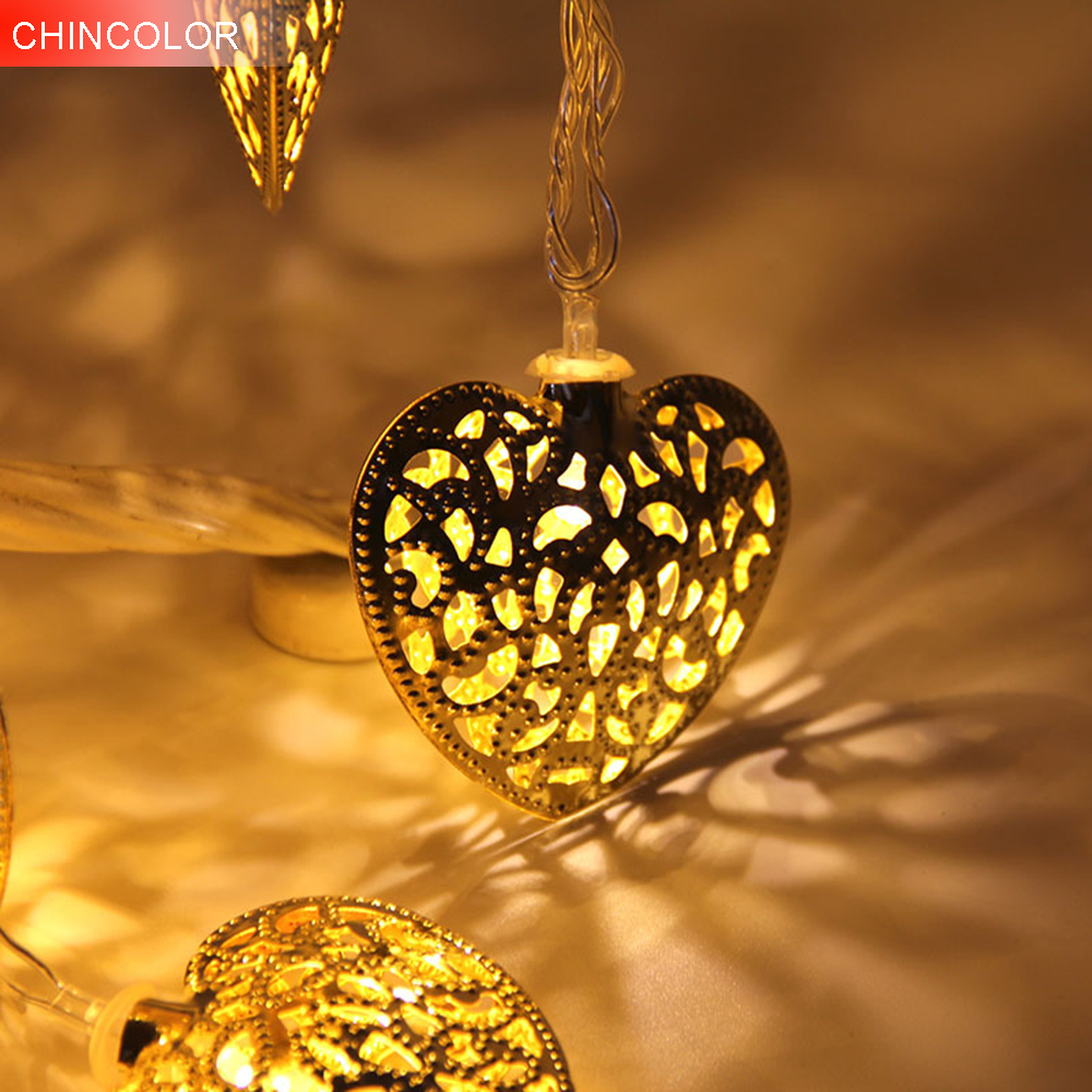 10leds Holiday lights Metal love shape Led Light string 1.2M Battery Operated Xmas christmas Garlands fairy wedding Decor DA