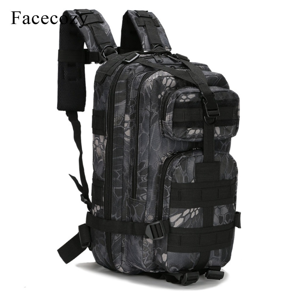 Facecozy Outdoor Camping & Hiking Backpack 25-30L Memburu Perjalanan Rucksack 600D Nylon Tentera Kalis Air Taktikal Sukan Beg