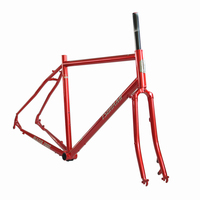 TSUNAMI 700c CR MO Steel Touring Road Frameset Classic Chrome Bicycle Frameset CX Cyclocross 28 Frame Fork Gravel Disc Brake