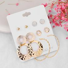New Earrings Set Fashion Atmosphere Geometric Circle for Women Five Pairs of Combination Jewelry