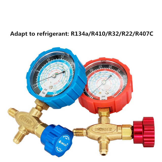 US $23 98 |Pure copper refrigerant pressure gauge R134a/R410/R32/R22/R407C  air conditioning and fluoride table Low/high pressure on Aliexpress com |