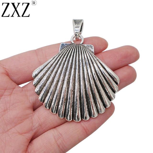 Zxz 2pcs antique silver large scallop shell charms pendants for zxz 2pcs antique silver large scallop shell charms pendants for jewelry making findings 57x55mm audiocablefo