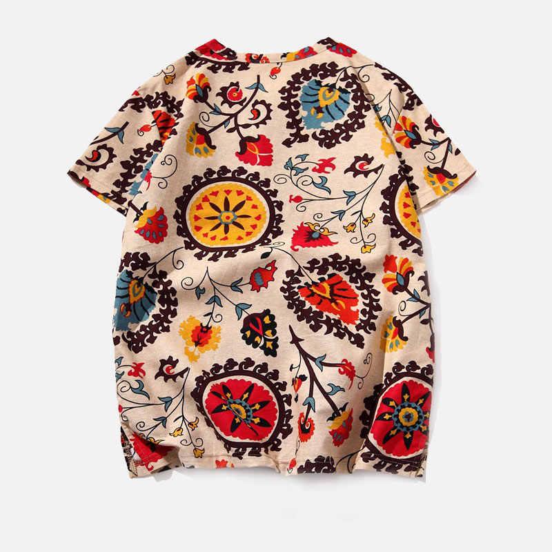 薄い花綿リネンの夏の男性 Tシャツ半袖メンズ V ネック Tシャツ 2019 春中国の伝統的な男性ストリートトップ