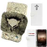 Rhinestone Bling Diamond Fox Rabbit Fur Flip Wallet PU Leather Stand Case Cover For Huawei Mate7