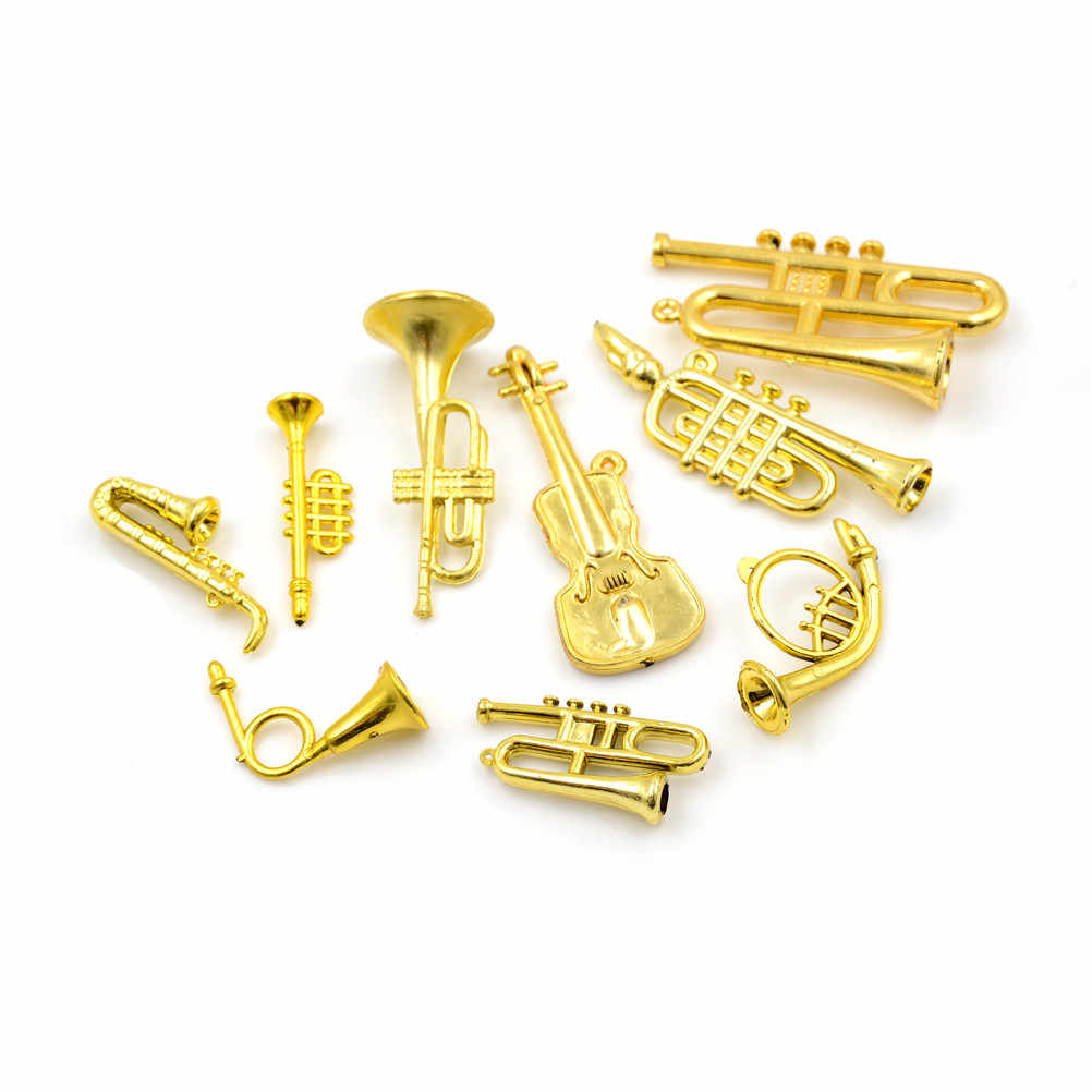 5 uds. Instrumento Musical dorado niños aprendizaje regalos miniatura para 1:12 escala casa de muñecas accesorios juguete clásico
